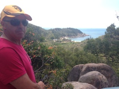 Barry (without his iconic smile apparently it doesn't go over seas) looking out over some views from the Fort walk