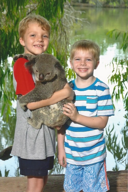Jay and Noah at Billabong with Koala