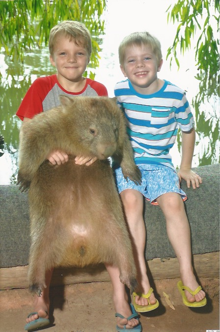 Jay and Noah at Billabong with Wombat